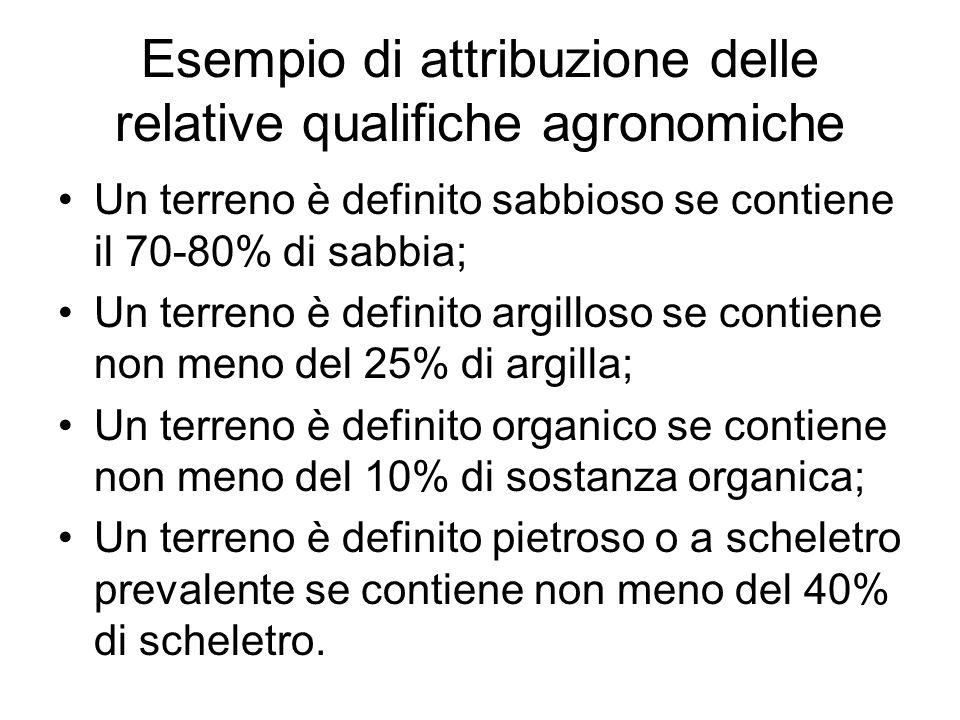 Esempio di attribuzione delle relative qualifiche agronomiche Un terreno è definito sabbioso se contiene il 70-80% di sabbia; Un terreno è definito ar