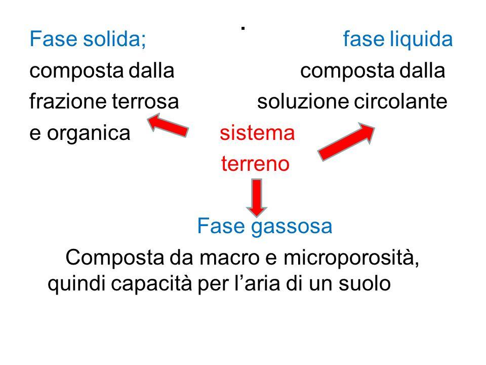 . Fase solida; fase liquida composta dalla frazione terrosa soluzione circolante e organica sistema terreno Fase gassosa Composta da macro e microporosità, quindi capacità per l'aria di un suolo