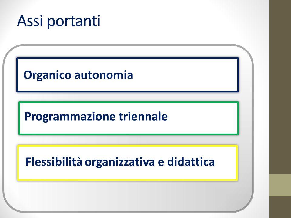 Assi portanti Organico autonomia Programmazione triennale Flessibilità organizzativa e didattica
