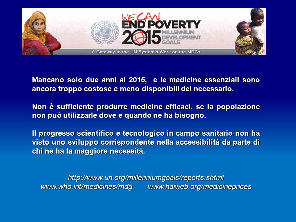 Mancano solo due anni al 2015, e le medicine essenziali sono ancora troppo costose e meno disponibili del necessario.