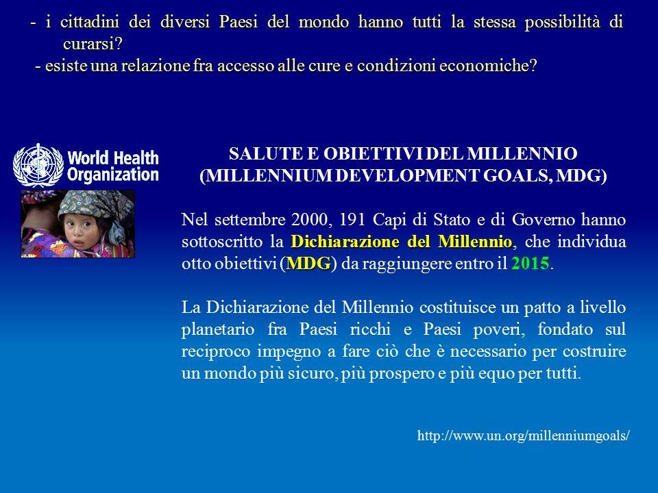 SALUTE E OBIETTIVI DEL MILLENNIO (MILLENNIUM DEVELOPMENT GOALS, MDG) Dichiarazione del Millennio MDG Nel settembre 2000, 191 Capi di Stato e di Governo hanno sottoscritto la Dichiarazione del Millennio, che individua otto obiettivi (MDG) da raggiungere entro il 2015.