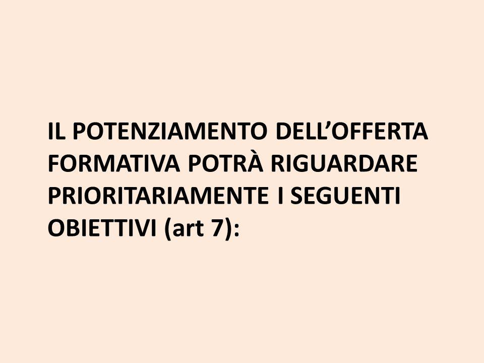 IL POTENZIAMENTO DELL'OFFERTA FORMATIVA POTRÀ RIGUARDARE PRIORITARIAMENTE I SEGUENTI OBIETTIVI (art 7):