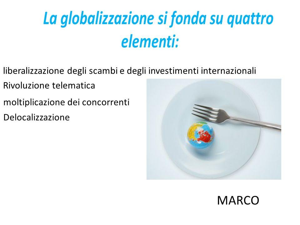 liberalizzazione degli scambi e degli investimenti internazionali Rivoluzione telematica moltiplicazione dei concorrenti Delocalizzazione MARCO