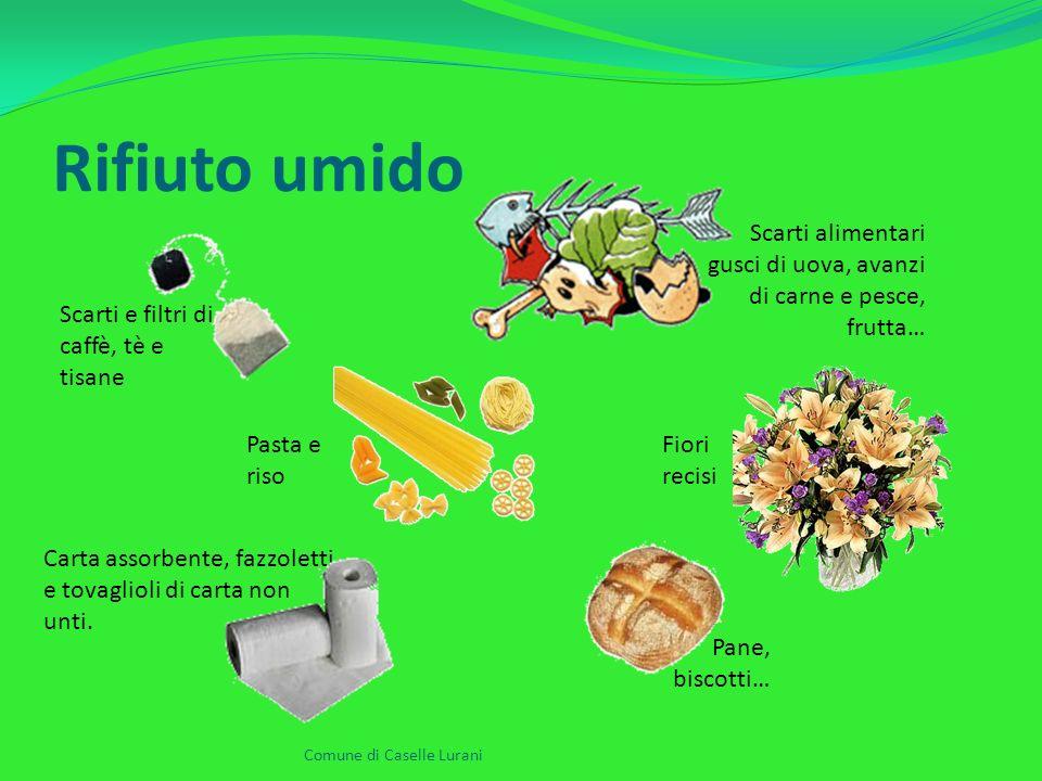Rifiuto umido Comune di Caselle Lurani Scarti alimentari gusci di uova, avanzi di carne e pesce, frutta… Scarti e filtri di caffè, tè e tisane Carta assorbente, fazzoletti e tovaglioli di carta non unti.