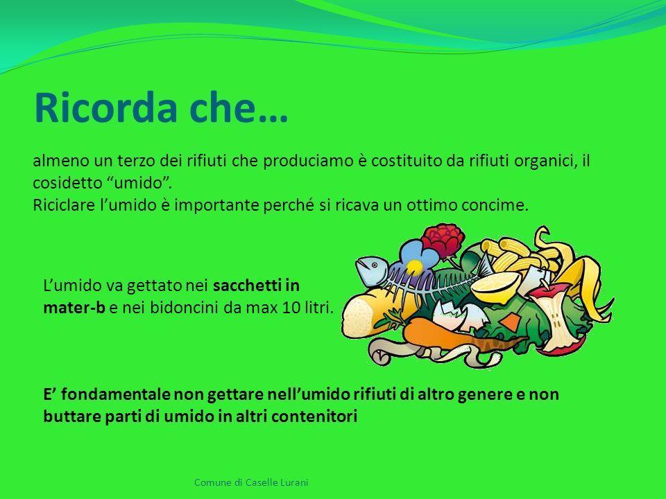 Ricorda che… Comune di Caselle Lurani almeno un terzo dei rifiuti che produciamo è costituito da rifiuti organici, il cosidetto umido .