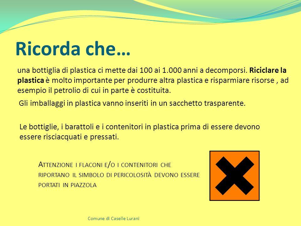 Ricorda che… Comune di Caselle Lurani una bottiglia di plastica ci mette dai 100 ai 1.000 anni a decomporsi.
