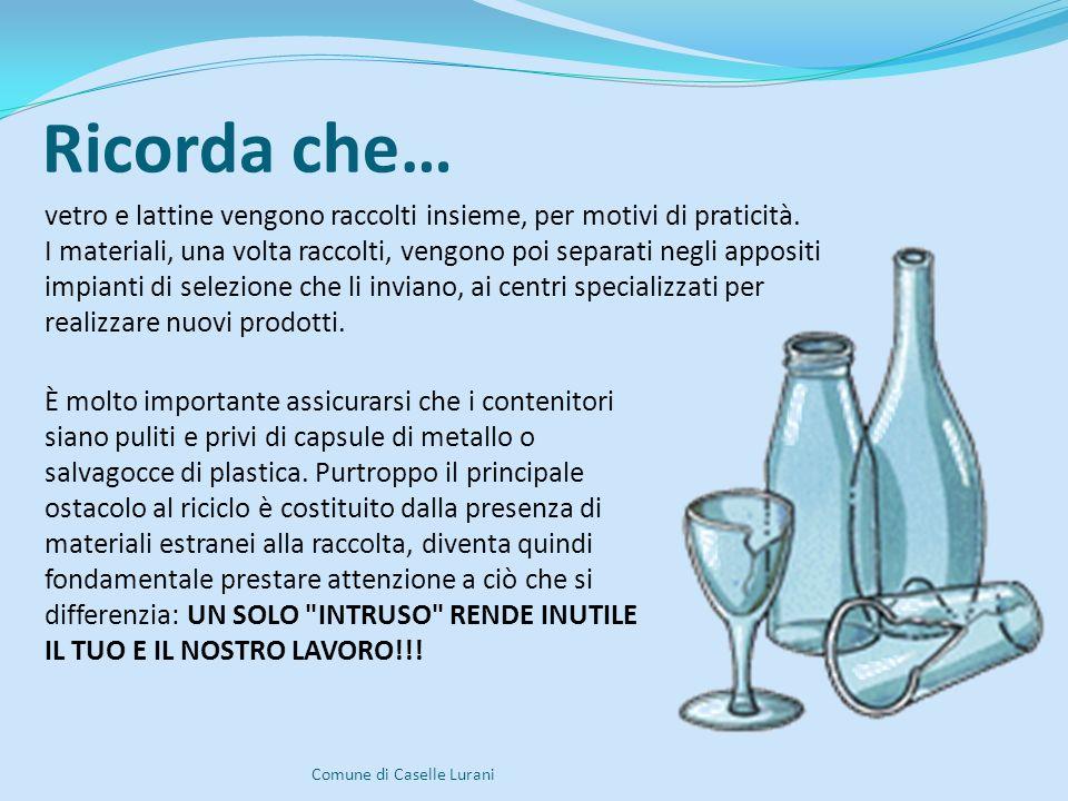 Ricorda che… Comune di Caselle Lurani È molto importante assicurarsi che i contenitori siano puliti e privi di capsule di metallo o salvagocce di plastica.
