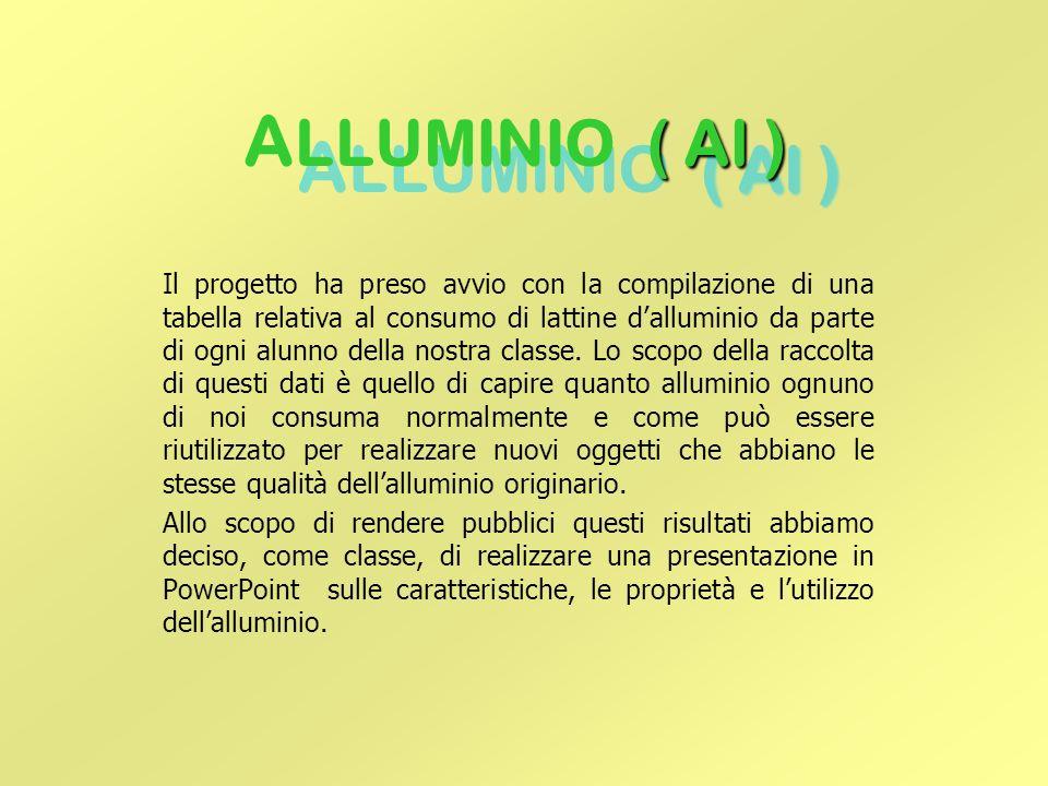 ( Al ) A LLUMINIO ( Al ) Il progetto ha preso avvio con la compilazione di una tabella relativa al consumo di lattine d'alluminio da parte di ogni alunno della nostra classe.
