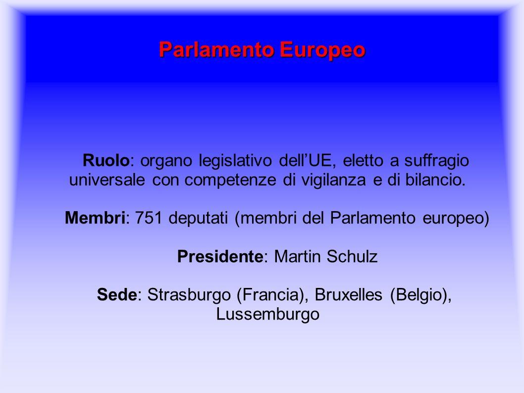 Parlamento Europeo Ruolo: organo legislativo dell'UE, eletto a suffragio universale con competenze di vigilanza e di bilancio. Membri: 751 deputati (m