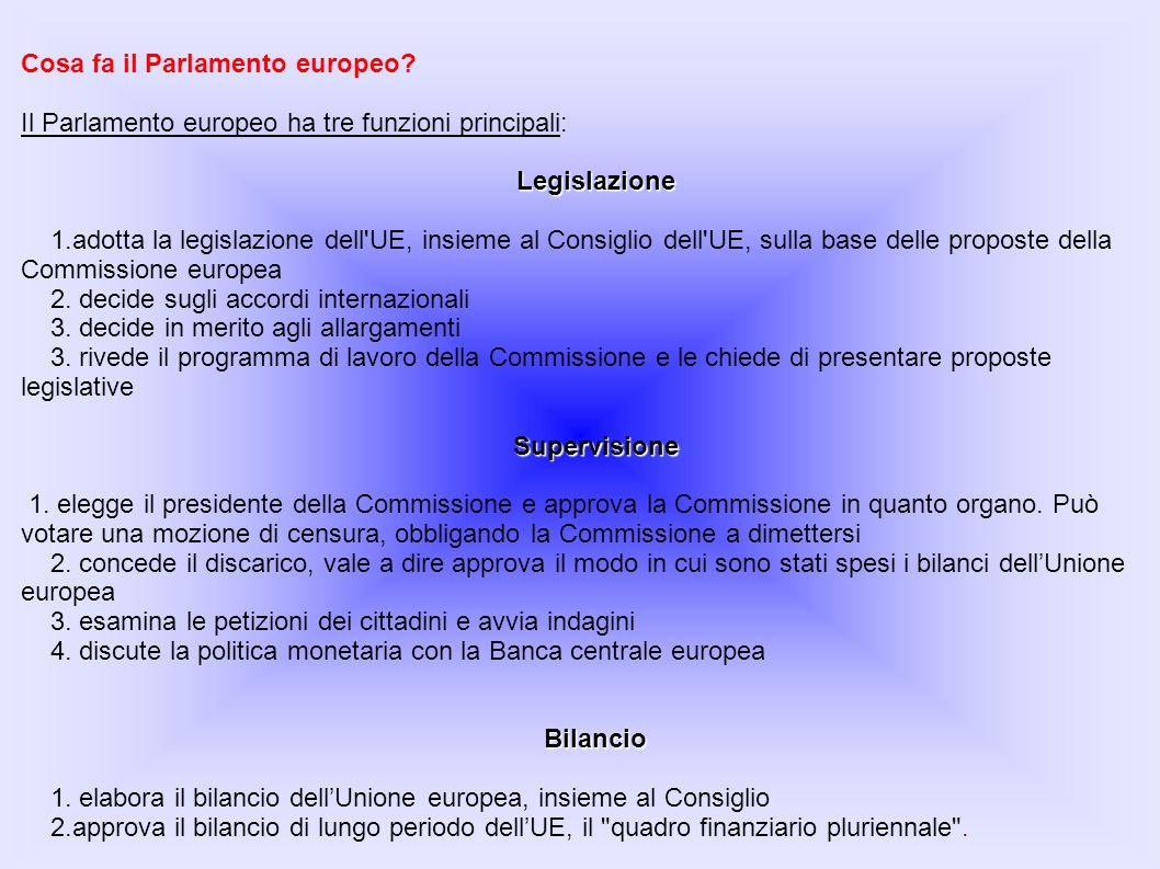 Cosa fa il Parlamento europeo? Il Parlamento europeo ha tre funzioni principali:Legislazione 1.adotta la legislazione dell'UE, insieme al Consiglio de