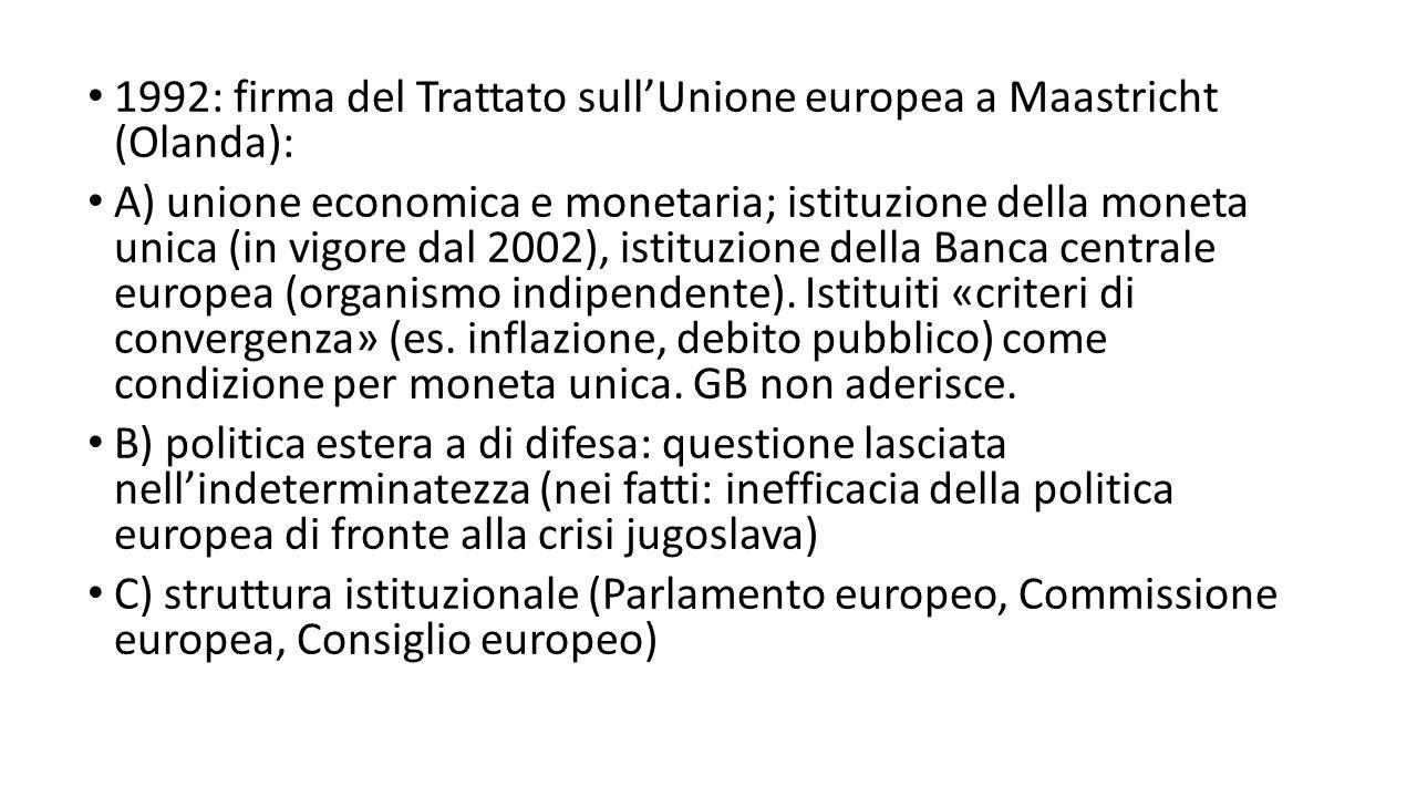 1992: firma del Trattato sull'Unione europea a Maastricht (Olanda): A) unione economica e monetaria; istituzione della moneta unica (in vigore dal 2002), istituzione della Banca centrale europea (organismo indipendente).