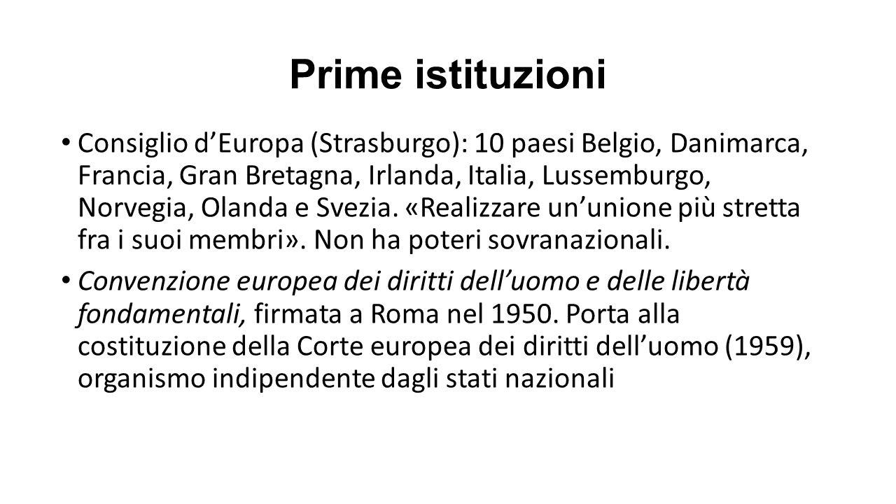 Prime istituzioni Consiglio d'Europa (Strasburgo): 10 paesi Belgio, Danimarca, Francia, Gran Bretagna, Irlanda, Italia, Lussemburgo, Norvegia, Olanda e Svezia.