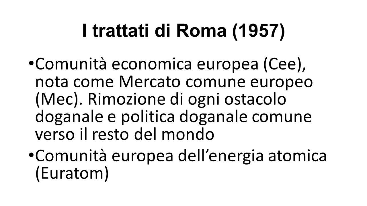 I trattati di Roma (1957) Comunità economica europea (Cee), nota come Mercato comune europeo (Mec).