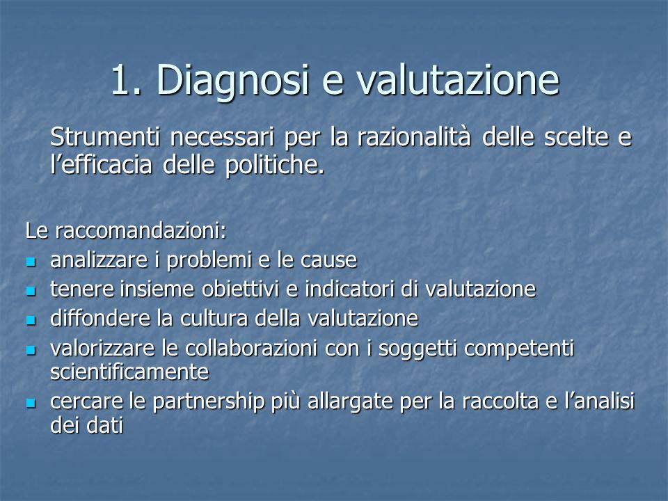 1. Diagnosi e valutazione Strumenti necessari per la razionalità delle scelte e l'efficacia delle politiche. Le raccomandazioni: analizzare i problemi