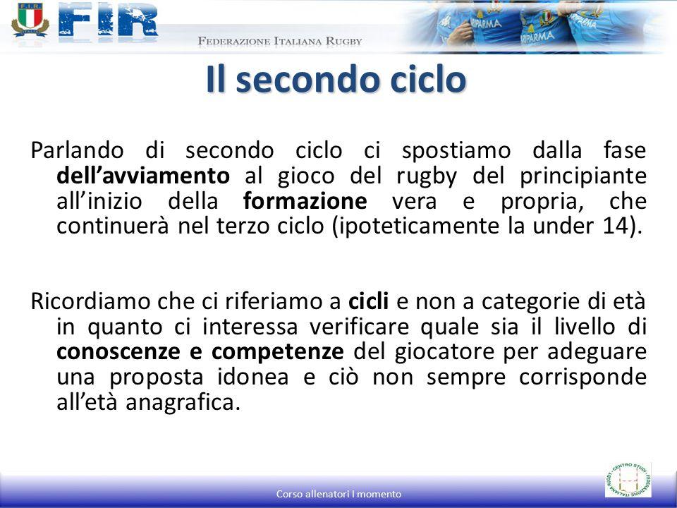 Parlando di secondo ciclo ci spostiamo dalla fase dell'avviamento al gioco del rugby del principiante all'inizio della formazione vera e propria, che continuerà nel terzo ciclo (ipoteticamente la under 14).
