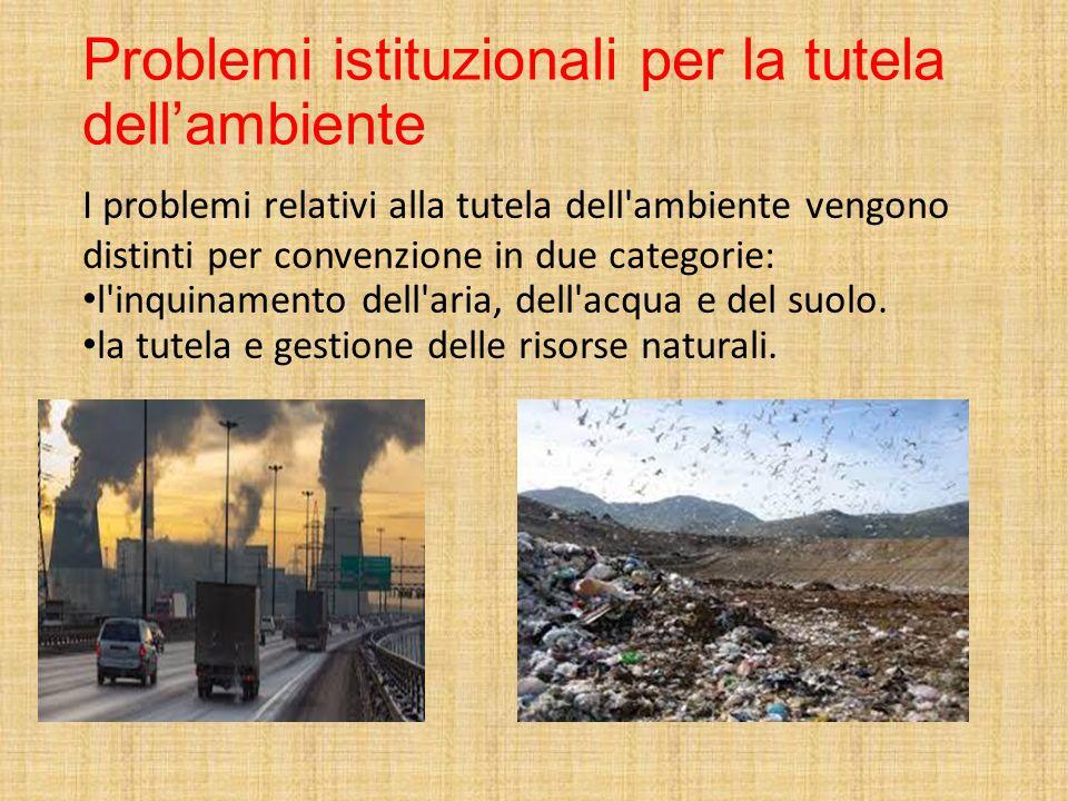 Problemi istituzionali per la tutela dell'ambiente I problemi relativi alla tutela dell'ambiente vengono distinti per convenzione in due categorie: l'