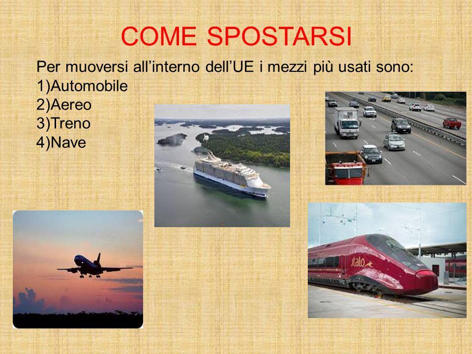 COME SPOSTARSI Per muoversi all'interno dell'UE i mezzi più usati sono: 1)Automobile 2)Aereo 3)Treno 4)Nave