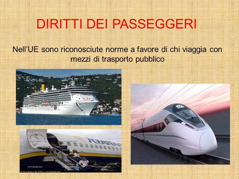 Nell'UE sono riconosciute norme a favore di chi viaggia con mezzi di trasporto pubblico DIRITTI DEI PASSEGGERI