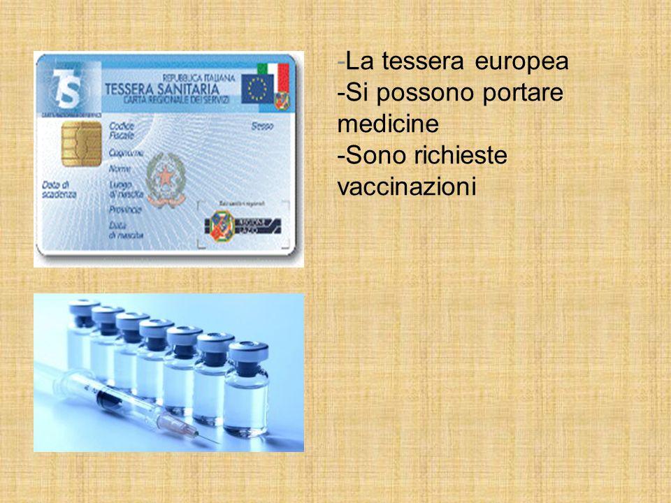 -La tessera europea -Si possono portare medicine -Sono richieste vaccinazioni