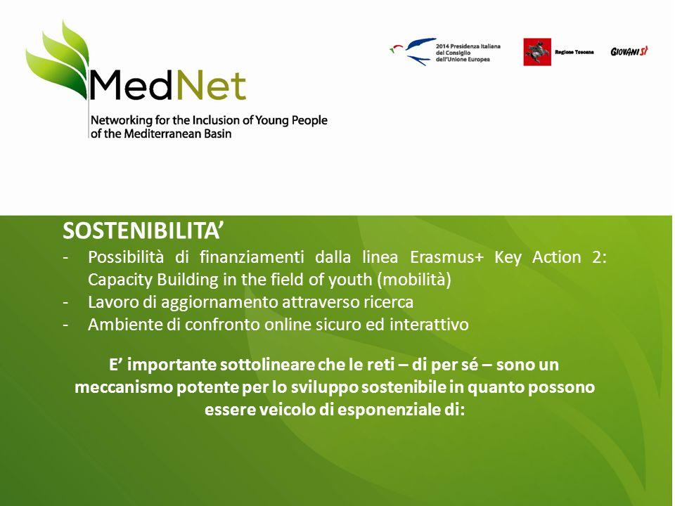 SOSTENIBILITA' -Possibilità di finanziamenti dalla linea Erasmus+ Key Action 2: Capacity Building in the field of youth (mobilità) -Lavoro di aggiornamento attraverso ricerca -Ambiente di confronto online sicuro ed interattivo E' importante sottolineare che le reti – di per sé – sono un meccanismo potente per lo sviluppo sostenibile in quanto possono essere veicolo di esponenziale di: