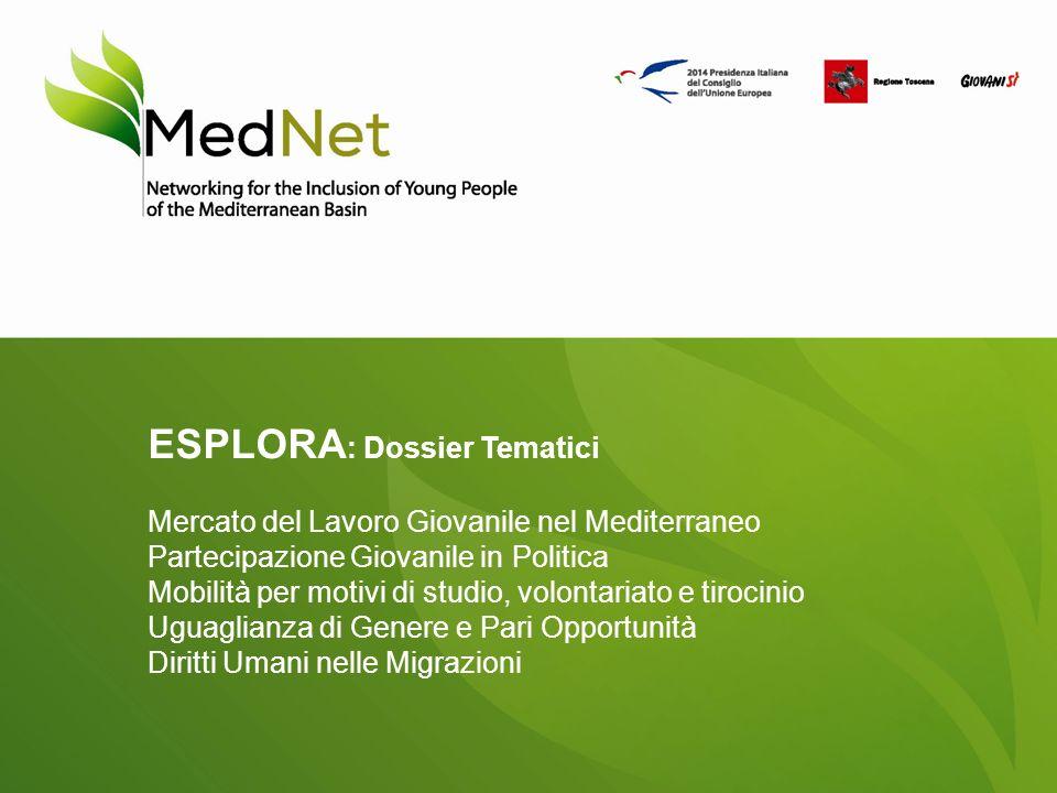 ESPLORA : Dossier Tematici Mercato del Lavoro Giovanile nel Mediterraneo Partecipazione Giovanile in Politica Mobilità per motivi di studio, volontariato e tirocinio Uguaglianza di Genere e Pari Opportunità Diritti Umani nelle Migrazioni