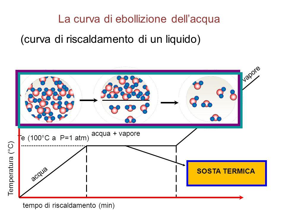 Temperatura (°C) tempo di riscaldamento (min) Te (100°C a P=1 atm) acqua acqua + vapore vapore La curva di ebollizione dell'acqua (curva di riscaldamento di un liquido) SOSTA TERMICA