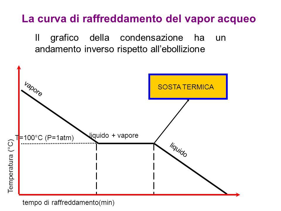 Temperatura (°C) tempo di raffreddamento(min) liquido + vapore liquido vapore T=100°C (P=1atm) La curva di raffreddamento del vapor acqueo Il grafico della condensazione ha un andamento inverso rispetto all'ebollizione SOSTA TERMICA