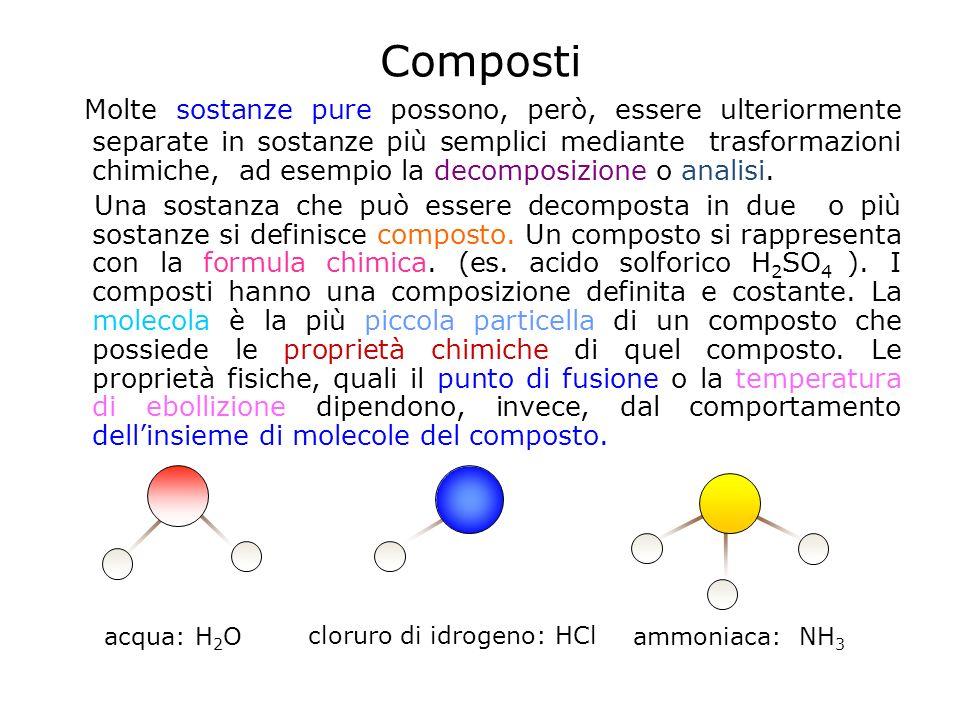 Composti Molte sostanze pure possono, però, essere ulteriormente separate in sostanze più semplici mediante trasformazioni chimiche, ad esempio la decomposizione o analisi.