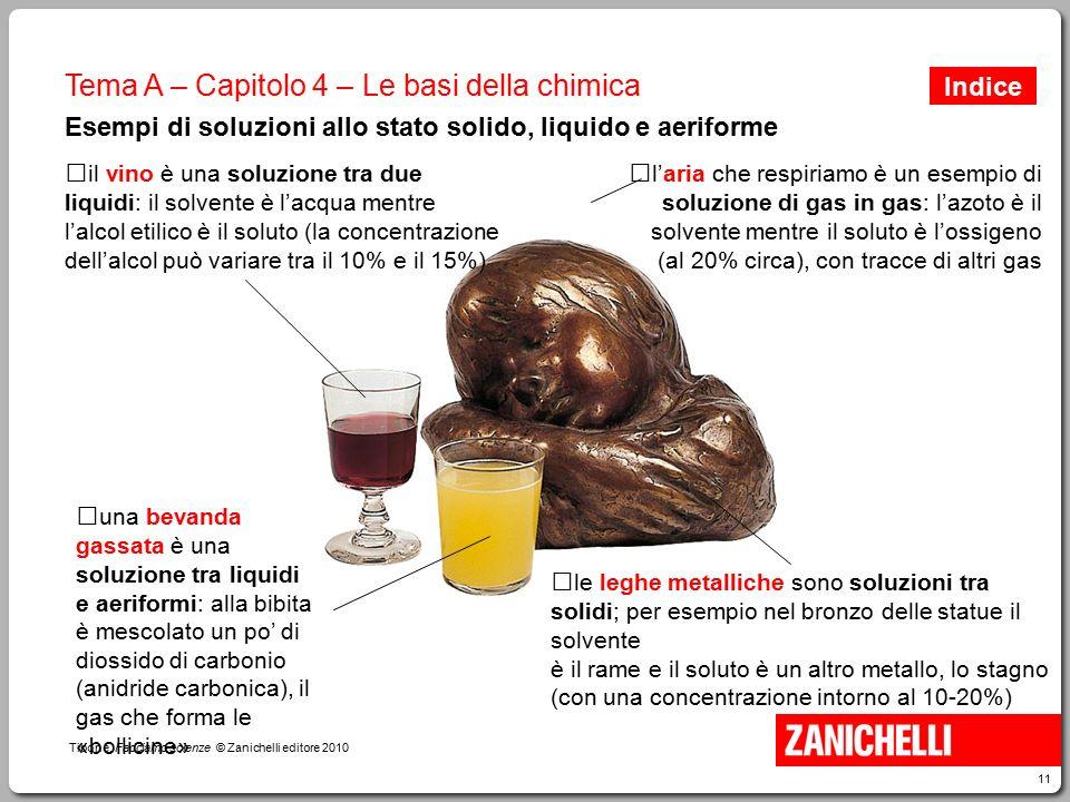 11 Tibone, Facciamo scienze © Zanichelli editore 2010 Tema A – Capitolo 4 – Le basi della chimica Esempi di soluzioni allo stato solido, liquido e aer