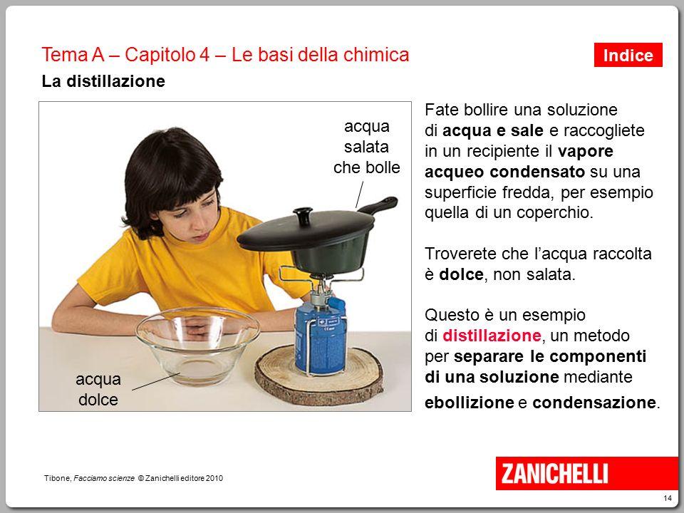 14 Tibone, Facciamo scienze © Zanichelli editore 2010 Tema A – Capitolo 4 – Le basi della chimica La distillazione Fate bollire una soluzione di acqua