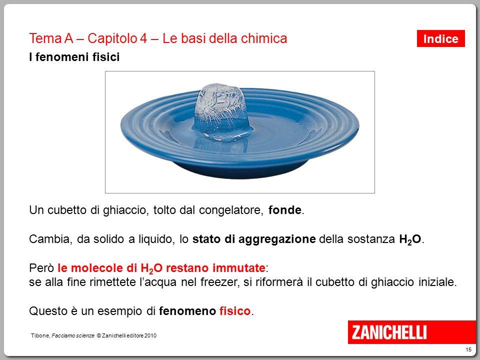 15 Tibone, Facciamo scienze © Zanichelli editore 2010 Tema A – Capitolo 4 – Le basi della chimica I fenomeni fisici Un cubetto di ghiaccio, tolto dal