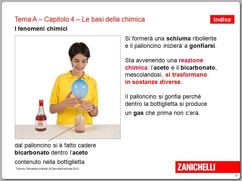 17 Tibone, Facciamo scienze © Zanichelli editore 2010 Tema A – Capitolo 4 – Le basi della chimica I fenomeni chimici Si formerà una schiuma ribollente