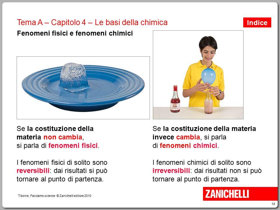 18 Tibone, Facciamo scienze © Zanichelli editore 2010 Tema A – Capitolo 4 – Le basi della chimica Fenomeni fisici e fenomeni chimici Se la costituzion