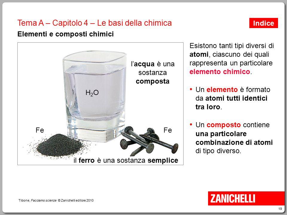 19 Tibone, Facciamo scienze © Zanichelli editore 2010 Tema A – Capitolo 4 – Le basi della chimica Elementi e composti chimici Esistono tanti tipi dive