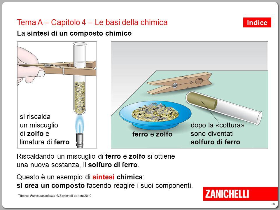 20 Tibone, Facciamo scienze © Zanichelli editore 2010 Tema A – Capitolo 4 – Le basi della chimica La sintesi di un composto chimico Riscaldando un mis