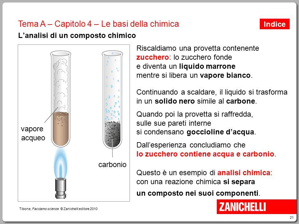 21 Tibone, Facciamo scienze © Zanichelli editore 2010 Tema A – Capitolo 4 – Le basi della chimica L'analisi di un composto chimico Riscaldiamo una pro