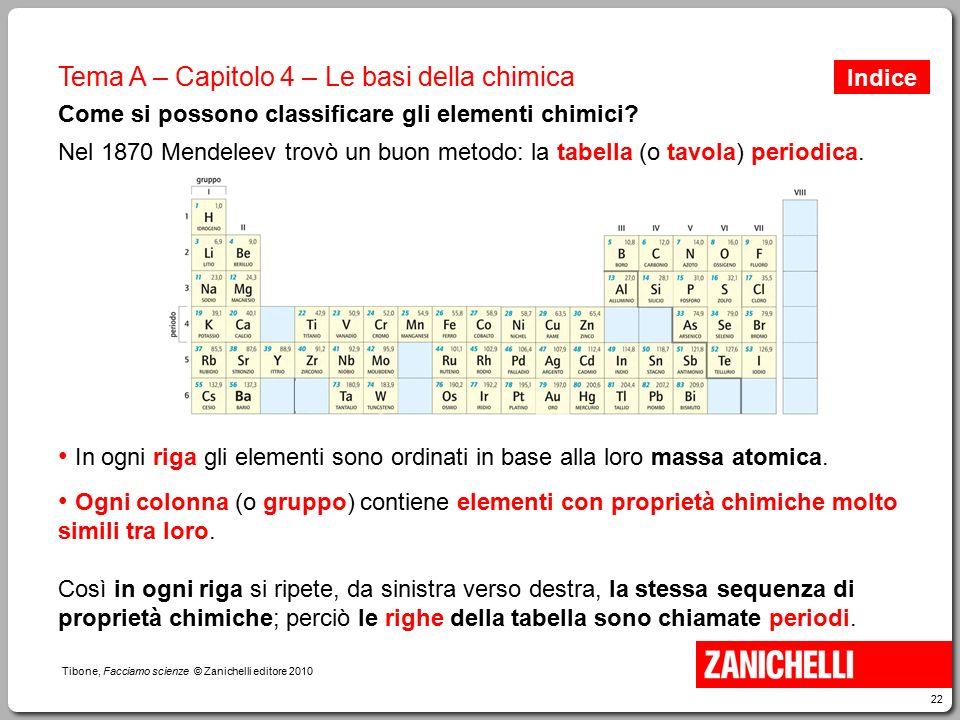 22 Tibone, Facciamo scienze © Zanichelli editore 2010 Tema A – Capitolo 4 – Le basi della chimica Come si possono classificare gli elementi chimici? N