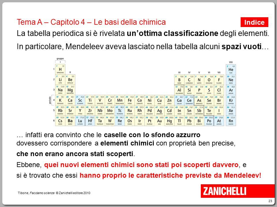 23 Tibone, Facciamo scienze © Zanichelli editore 2010 Tema A – Capitolo 4 – Le basi della chimica La tabella periodica si è rivelata un'ottima classif