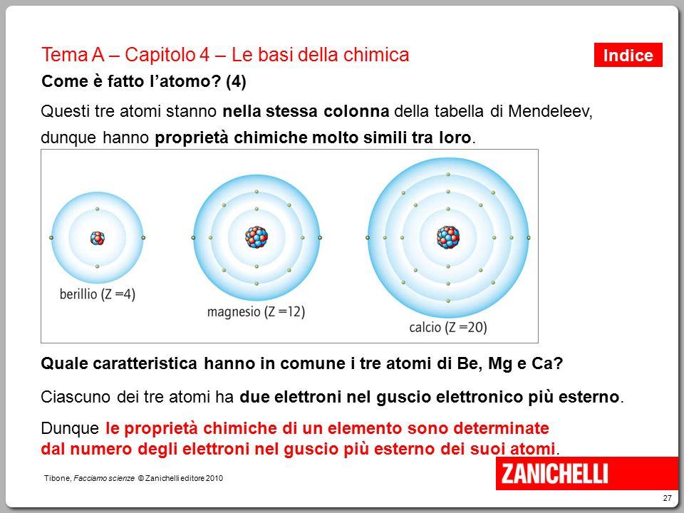 27 Tibone, Facciamo scienze © Zanichelli editore 2010 Tema A – Capitolo 4 – Le basi della chimica Come è fatto l'atomo? (4) Questi tre atomi stanno ne