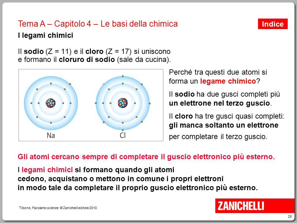 28 Tibone, Facciamo scienze © Zanichelli editore 2010 Tema A – Capitolo 4 – Le basi della chimica I legami chimici Il sodio (Z = 11) e il cloro (Z = 1