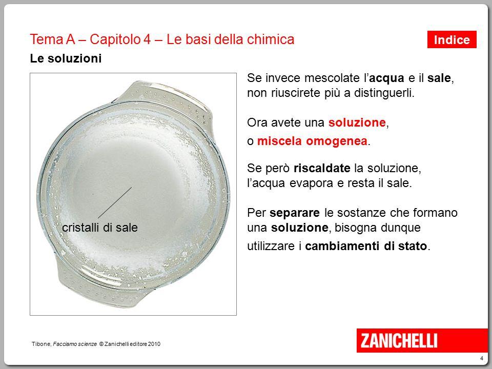 4 Tibone, Facciamo scienze © Zanichelli editore 2010 Tema A – Capitolo 4 – Le basi della chimica Le soluzioni Se invece mescolate l'acqua e il sale, n