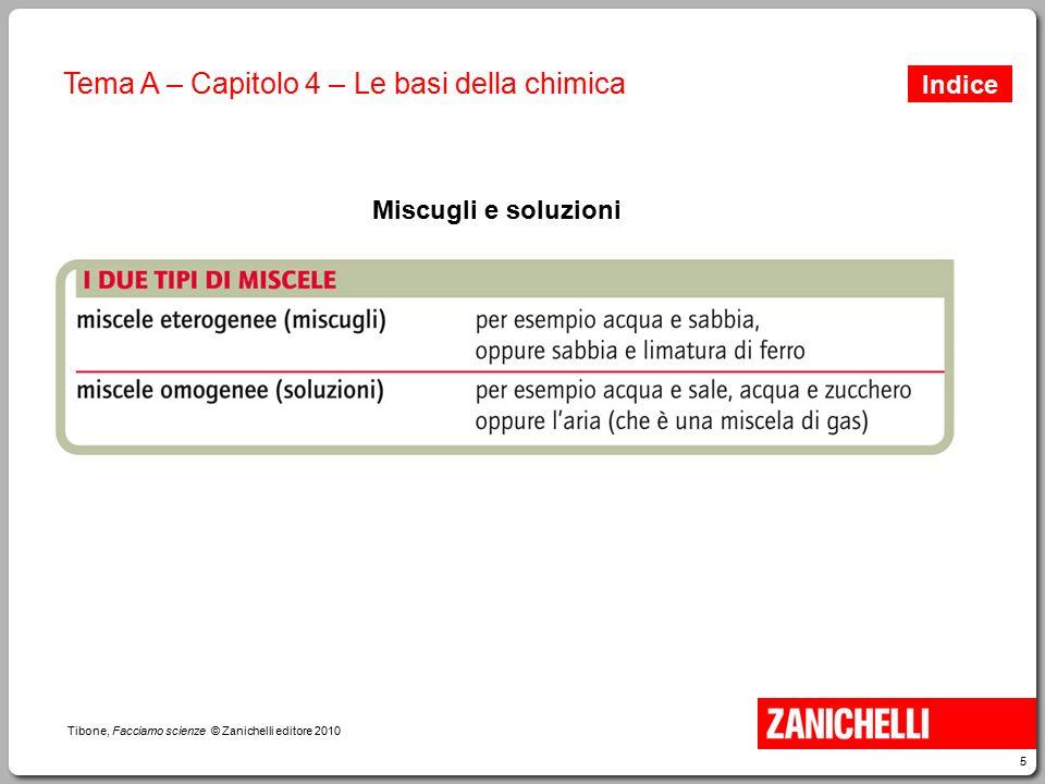5 Tibone, Facciamo scienze © Zanichelli editore 2010 Tema A – Capitolo 4 – Le basi della chimica Miscugli e soluzioni Indice