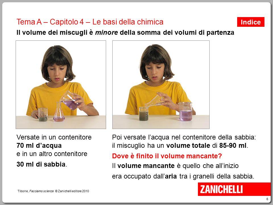 6 Tibone, Facciamo scienze © Zanichelli editore 2010 Tema A – Capitolo 4 – Le basi della chimica Il volume dei miscugli è minore della somma dei volum