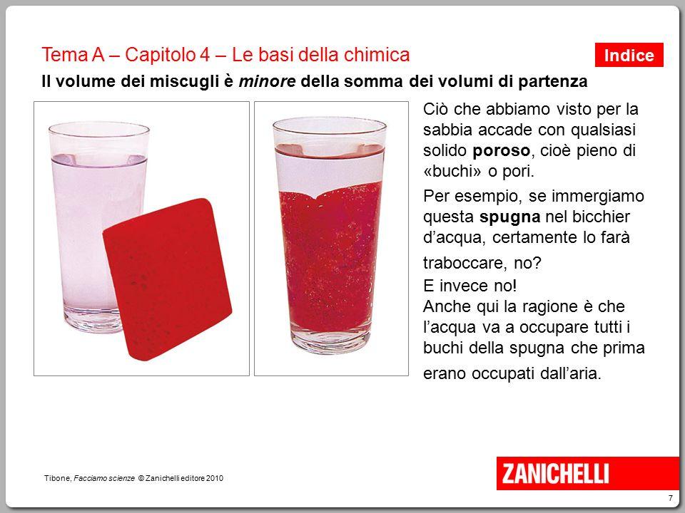 7 Tibone, Facciamo scienze © Zanichelli editore 2010 Tema A – Capitolo 4 – Le basi della chimica Il volume dei miscugli è minore della somma dei volum