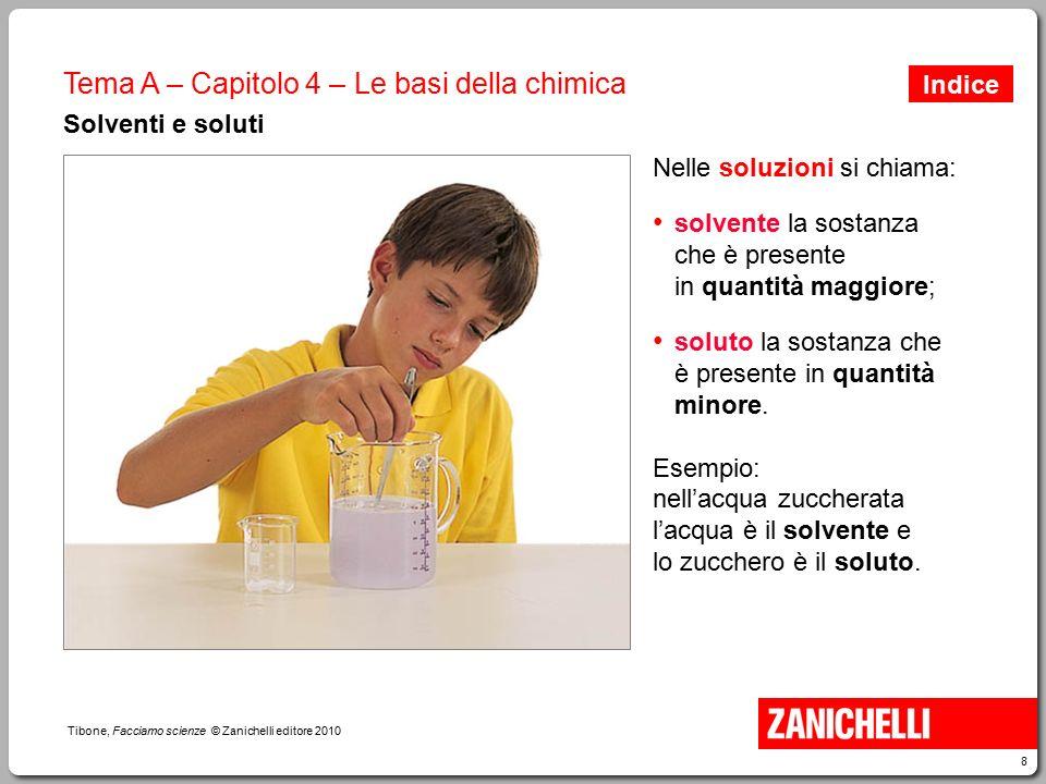 8 Tibone, Facciamo scienze © Zanichelli editore 2010 Tema A – Capitolo 4 – Le basi della chimica Solventi e soluti Nelle soluzioni si chiama: solvente