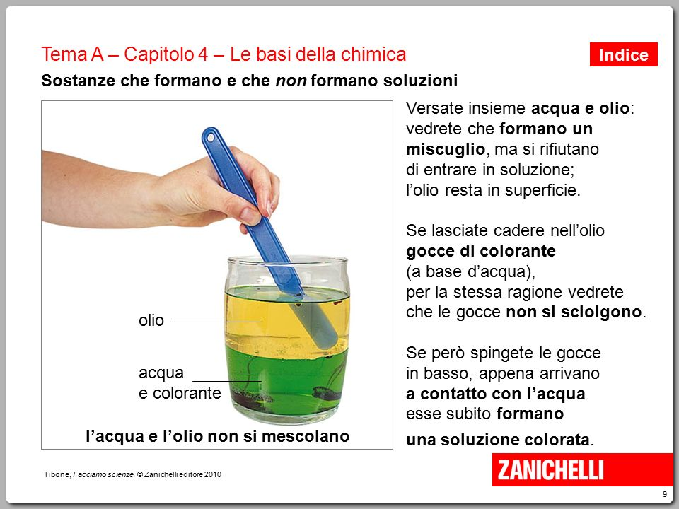 9 Tibone, Facciamo scienze © Zanichelli editore 2010 Tema A – Capitolo 4 – Le basi della chimica Sostanze che formano e che non formano soluzioni Vers
