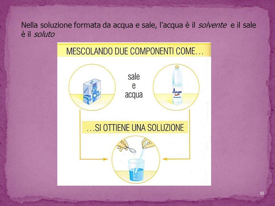 Nella soluzione formata da acqua e sale, l'acqua è il solvente e il sale è il soluto 11