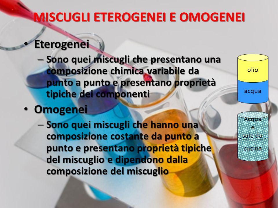 MISCUGLI ETEROGENEI 1.Nei miscugli eterogenei, i componenti mantengono le proprie caratteristiche e ciò permette di individuarli anche se sono ben mescolati.