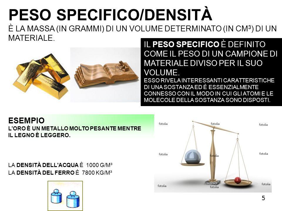 PESO SPECIFICO/DENSITÀ È LA MASSA (IN GRAMMI) DI UN VOLUME DETERMINATO (IN CM 3 ) DI UN MATERIALE.