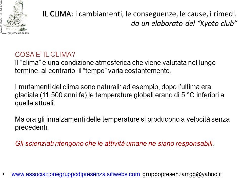 IL CLIMA IL CLIMA: i cambiamenti, le conseguenze, le cause, i rimedi.